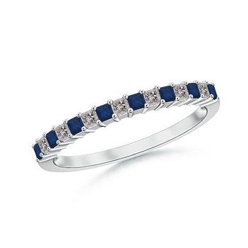 Blue Sapphire and Diamond Semi Eternity Classic Wedding Band in Platinum (1.5mm Blue Sapphire)