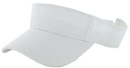 LA Gen Sales Plain Men Women Sport Outdoor Sun Visor Adjustable Cap (White), Large