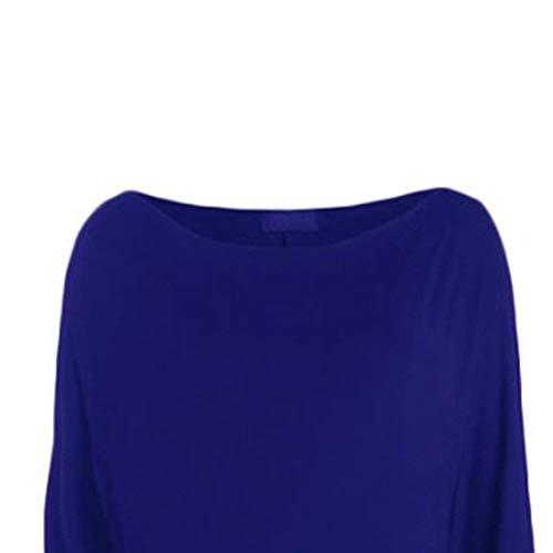 Magliette A Puro Glamorous Top Collo Bluse Maniche Camicia Semplice Felpe Lunghe Colore Autunno Primaverile Eleganti Blau Rotondo Casual Shirts Baggy Donna Base nXda7AHA