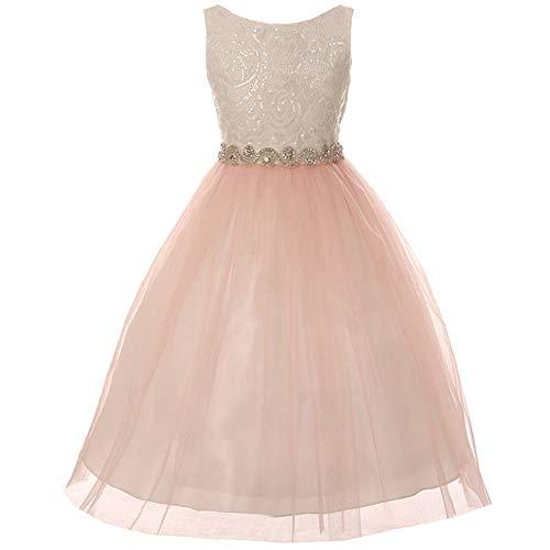 (CrunchyCucumber Big Girls Sleeveless Low Back Sequin Lace Swirl Rhinestone Beads Tulle Skirt Ivory Blush - Size 14)