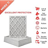 18x25x1 MERV 11 ( MPR 1000 ) Pleated AC Furnace Air Filter - 6 Pack