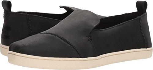 TOMS Women's Deconstructed Alpargata Leather Slip-On, Size: 7.5 B(M) US, Color: Black Leather