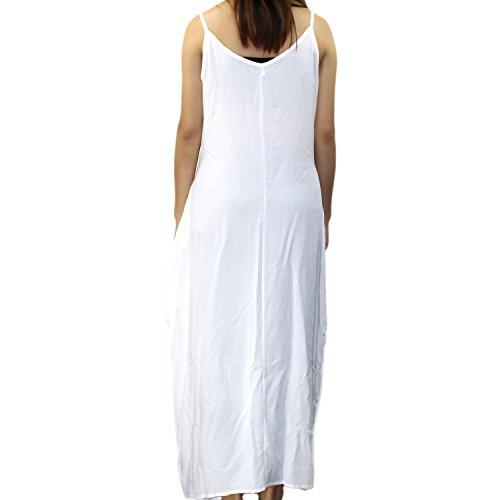 Senza Landove Eeleganti Scollo Casuale Vestiti Bianco Abito a Maxi Cotone Lunghi V Spiaggia Donna Abiti Estivi Maniche Vestito qFaA7w
