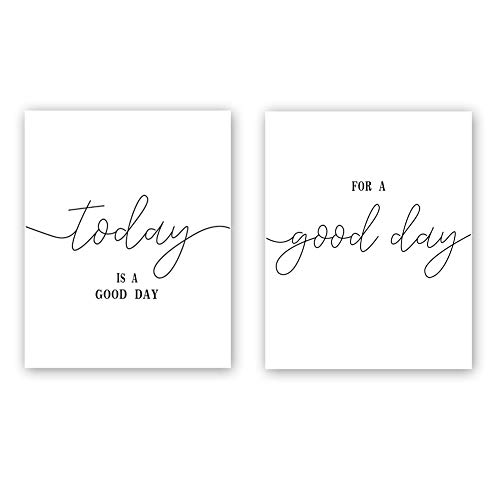 "CHDITB Unframed Inspirational Quote&Saying Art Print,Today is A Good Day,for A Good Day Wall Art Poster,Set of 2(8"" x10"" ) Minimalist Canvas Motivational Art Painting Home Decor"