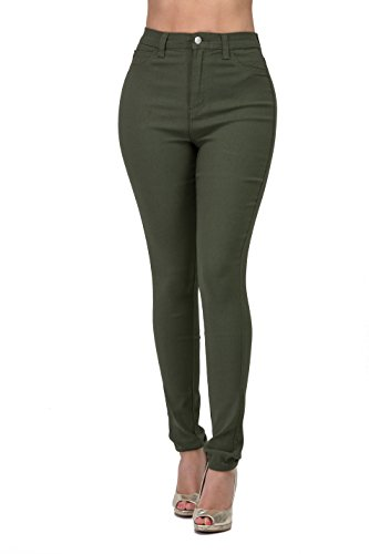 Premium Denim Jeans for Women High Waisted-Rise Colored (Olive, S)