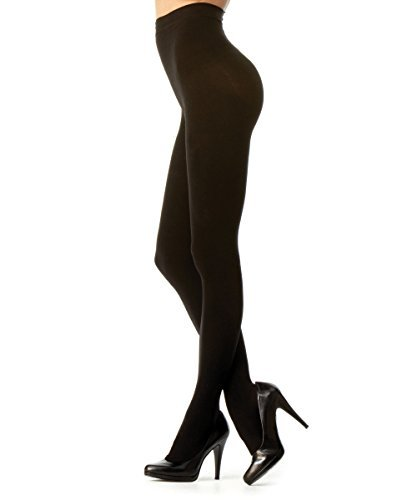 Melas Microfiber Opaque Control Top Tights AT-636 (Large/X-Large, Black)