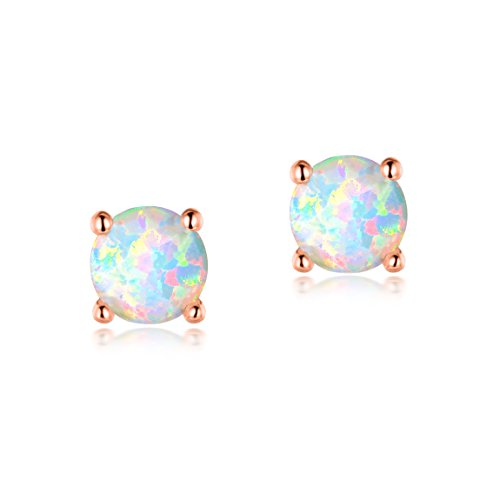 Rose Small 18k (Hypoallergenic 4mm Small Round Opal Stud Earrings 18K Rose Gold Plated Women Little Girls)