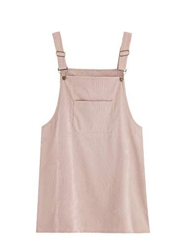 Romwe Women's Plus Size Pocket Front Adjustable Straps Corduroy Pinafore Short Dress Pink 4X Plus