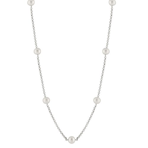 Tahitian Tin Cup - Tin Cup Station Sterling Silver Chain 9.5-10mm White Freshwater Cultured Pearl Matinee Necklace 23