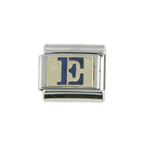 Stainless Steel 18k Gold Italian Charm Initial Letter E for Italian Charm Bracelets Blue Enamel