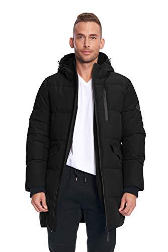 Alpine North Mens Vegan Down Winter Puffer Coat, Black, M