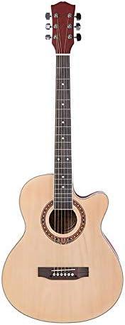 ミニアコースティックギター 39インチナチュラルギターレトロなフォークギタークラシックギターのために学習者の子供のギターとジュニアギター 初心者 入門 (Color : Photo color, Size : 39 inch)