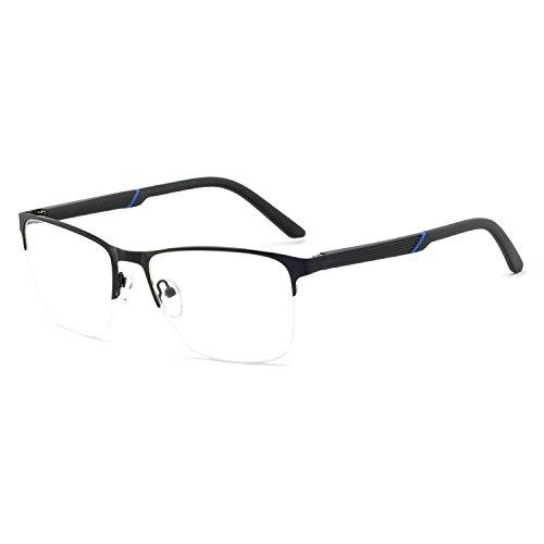 OCCI CHIARI Mens Semi-rimless Casual Stylish Metal Eyewear Frame With Clear Lens 54-17-140 ()