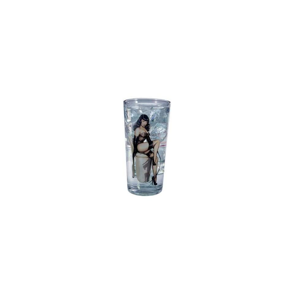 Bettie Page Pin up Art Glass Tumbler
