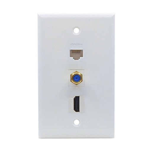 Coax HDMI Ethernet Wall Plate - Cat6 HDMI Coax Wall Plate Female to Female in White (Interconnect Subwoofer Cable Standard)