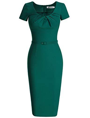 MUXXN Women's Vintage 1940s Scoop Neck Belt Waist Bodycon Dress(L Dark Green) -