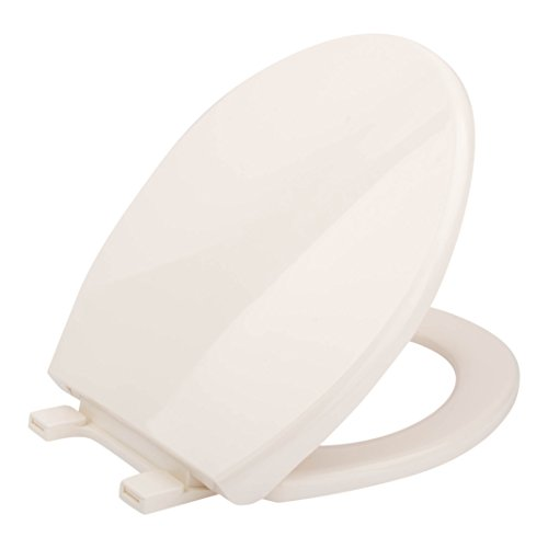 Quiet Slow Close Round Biscuit Toilet Seat and Lid - Quick Release Hinges, Wipe Clean Plastic, Lift Off Seats Make Cleaning Toilets Easy, Close Hinge Covers To Lock, Open Cover (Toilet Bowl Biscuit)