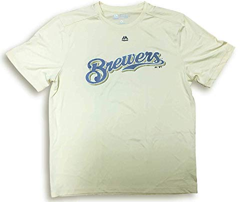 - Majestic Evolution Cool Base Milwaukee Brewers Crewneck T-Shirt (X-Large)
