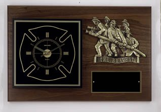12''x18'' Firefighter Clock Plaque w/Bronze Plaque Mount FREE CUSTOM ENGRAVING