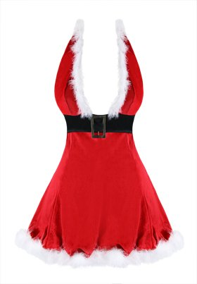 Killreal Womens Sexy V Neck Low Cut Velvet Christmas Mini Costume Dress