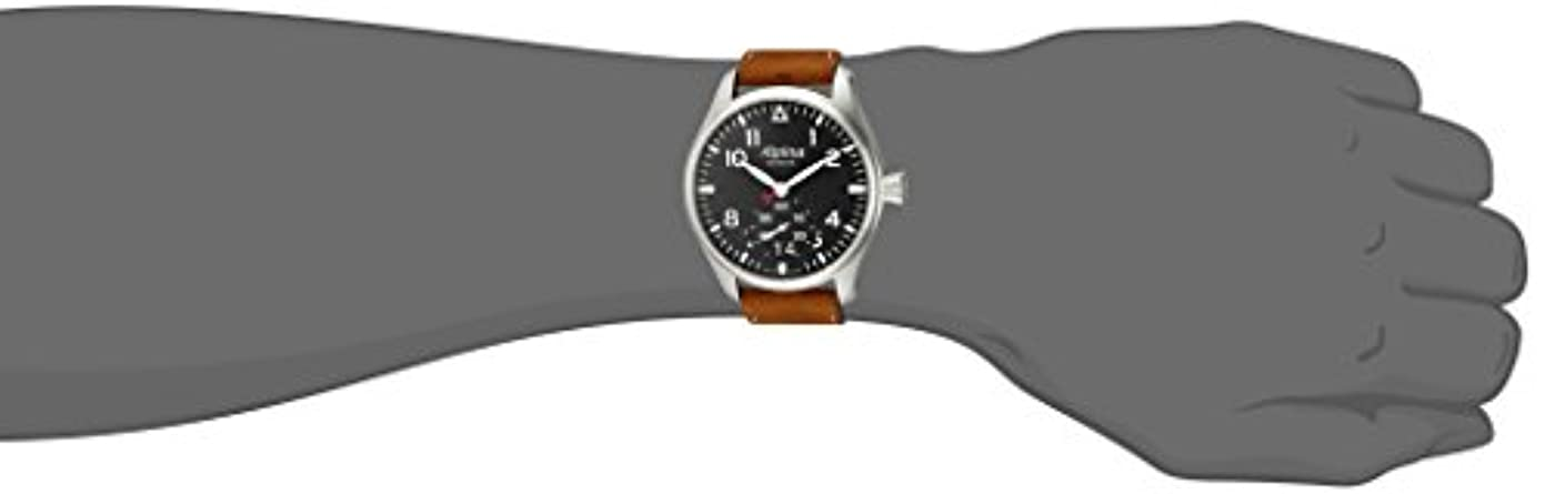 Alpina Men s STARTIMER Pilot Big Date Stainless Steel Quartz Watch with Leather Strap, Brown, 22 Model AL-280N4S6