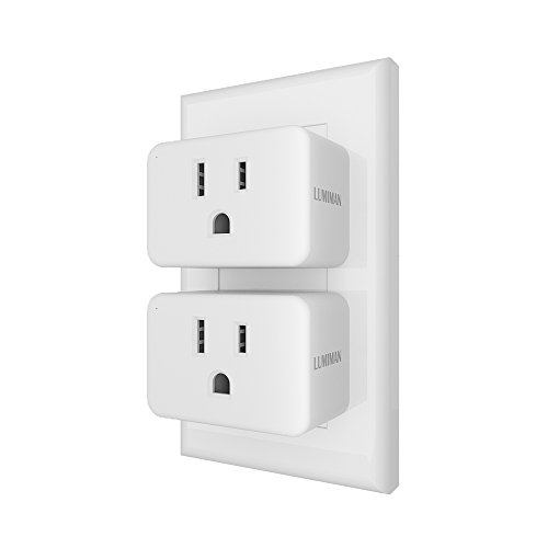 Smart Plug Mini Enabled WiFi Outlet Socket, Compatible With Amazon Alexa and Google Home Assistant, No Hub Required, LUMIMAN 2 Pack