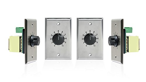 Atlas Sound AT Series 100 Watt 25/70 Volt Attenuators - Contractor Pack (4-Pack, Stainless Steel) by Atlas Sound