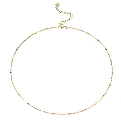 S.Leaf Dainty Choker Necklace Satellite Chain Beaded Choker Necklace Layered Necklace (Gold)