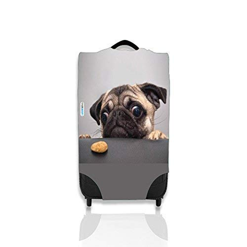 Pug With Biscuit Design Suitcase Cover Easily Identify Your Case On The Carousel *Suitcase Not Included* Small