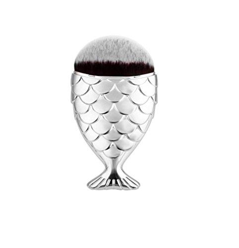 Cosmetic Makeup Brush Fish Scale Makeup Brush Mermaid Bottom Brush Powder Blush (Sliver) -