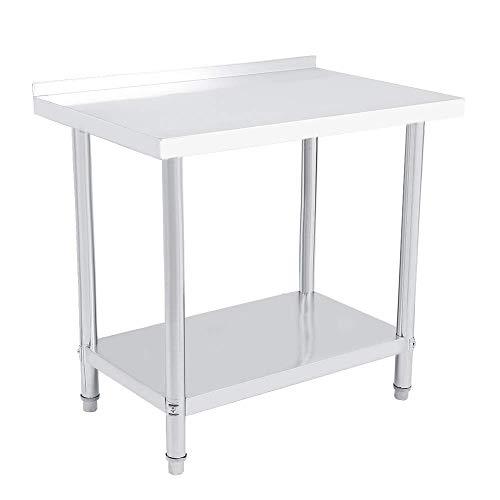 Mesa de Trabajo de Acero Inoxidable Mesa de Comedor Consola Extensible, Mesa para Salon recibidor o Cocina (91X61X85 cm)