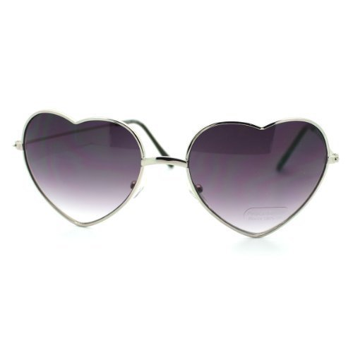 Small Thin Metal Heart Shaped Frame Cupid Sunglasses (Silver Smoke)