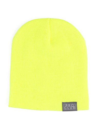 Pro Club Men's Beanie, One Size, Safety Green (Short)
