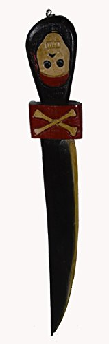 Hand Carved Pirates of Caribbean Sword Skull Bloody Bones Skeleton Knife Caribbean Skull Bones