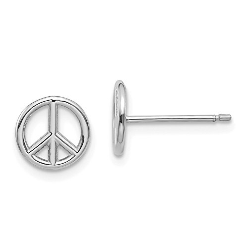 14k White Gold Peace Symbol Post Stud Earrings Inspiration Fine Jewelry Gifts For Women - Valentines Day Gifts For Her ()