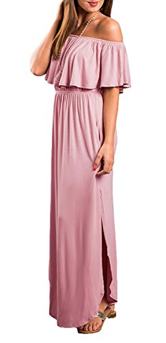 LILBETTER Womens Off The Shoulder Empire Waist Maxi Dresses Long Dresses with Pockets (Dusty Pink Medium)