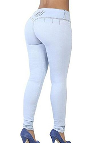 La Mujer Casual Dos Botones Elastico Lavado Distressed Denim Jeans Pantalones De Longitud Completa Skyblue