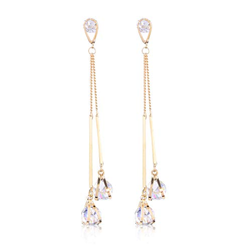- Crystal Long CZ Dangle Earrings - Women's Fashion Gold Plated Sterling Silver Cubic Zirconia Bridal Linear Earrings for Wedding Bride Bridesmaids Super Long Chain double Strands Tassel Thread Earrings