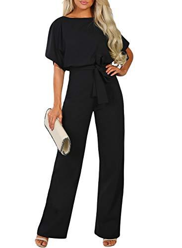 CANIKAT Women's Summer Casual Loose Fit Short Sleeve Tie Front Belted Jumpsuit Long Pants Cute Romper Playsuit Black XL