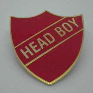 Head Boy Enamel School Shield Badge - Red - Pack of 10