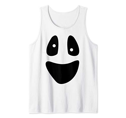 Ghost - Funny Scary Face Lazy Halloween Costume Tank -