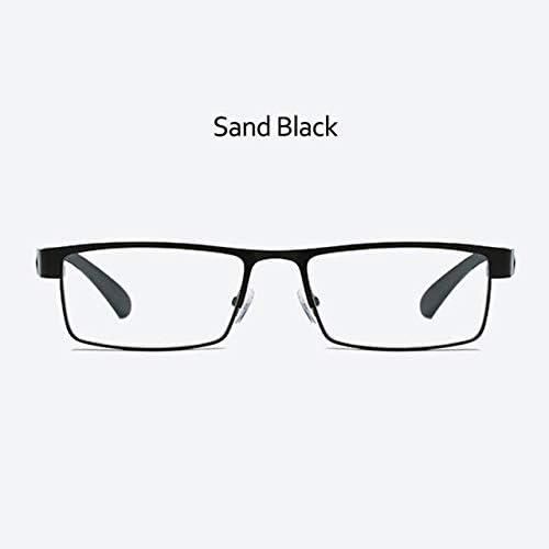 RJGOPL des lunettes de soleil Liga De Titânio Homens LeonLion TR90 Oculaires de lecture Hypermetropia Não verres sphériques d'affaires Rétro Óculos Black +300