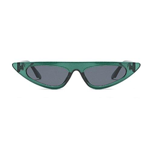ojo de vintage Estilo estilo de Gris pequeño Verdoso de Gafas marco de moda gato de Inlefen estilo Gafas sol de diseñador sol de de de qHwZZF7I