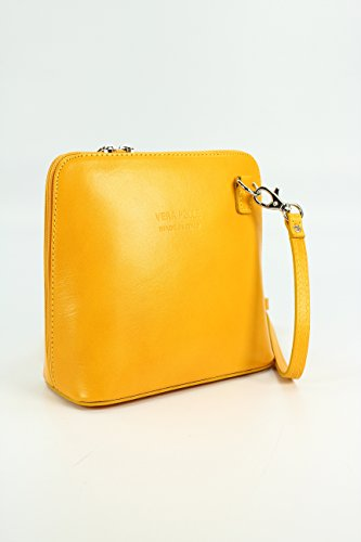 elegant Yellow practical H 5 Shoulder Women's x Leather and CM Small x D shoulder 8 Italian x Bag bag 17 16 x 5 W EnRqSxgRA