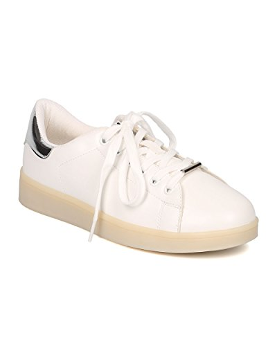 Zapatillas Alrisco Mujer Leatherette Light Up Chargeable Led - Informal, Fiesta, Festival - Zapatillas De Dos Tonos - Gf41 De Blanco / Plateado