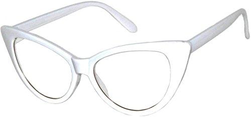 [OWL Retro Cat Eye Vintage Sunglasses White Frame Clear Lens OWL] (White Cat Eye Glasses)