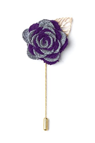Two-toned Flower Gold Leaf Gray Velvet Lapel Pin (Toned Flower Two)