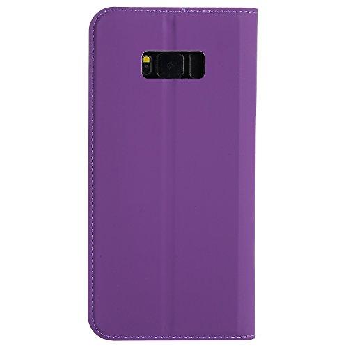 Caja de teléfono de cuero sintético de color sólido, cierre magnético Bookstyle Folio caso de soporte con ranura para tarjeta para Samsung Galaxy S8 ( Color : Gold ) Purple