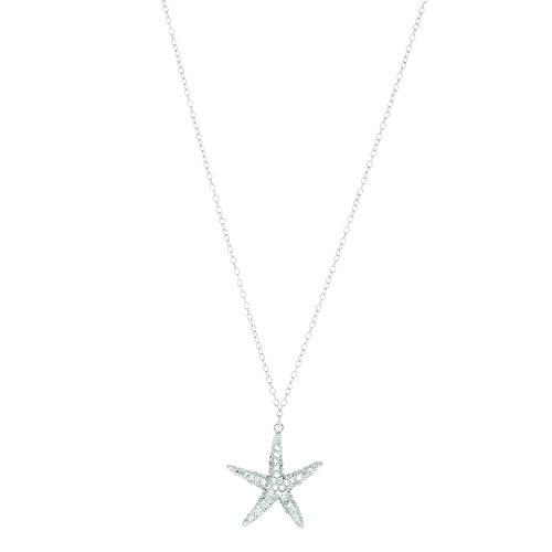 Ritastephens Sterling Silver CZ Starfish Pendant Necklace 18 Inches ()