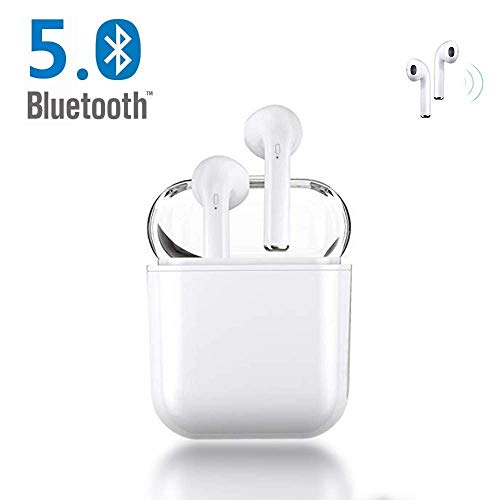 Bluetooth Headphones Wireless Sports Earbuds Stereo Earphones SweatProof Headsets Clear Audio Earpieces for iPhone XMAS/XR/X/8/7/6/6s Plus Android S7 S8 S9 S10 Plus Samsung Galaxy-White